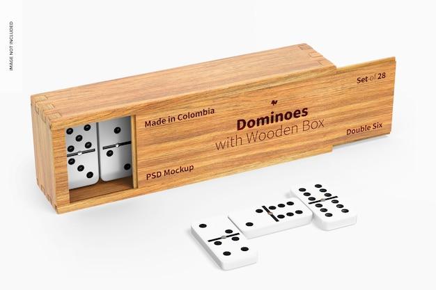 Domino con mockup di scatola di legno, vista da sinistra