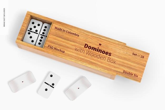 Domino con mockup di scatola di legno, prospettiva