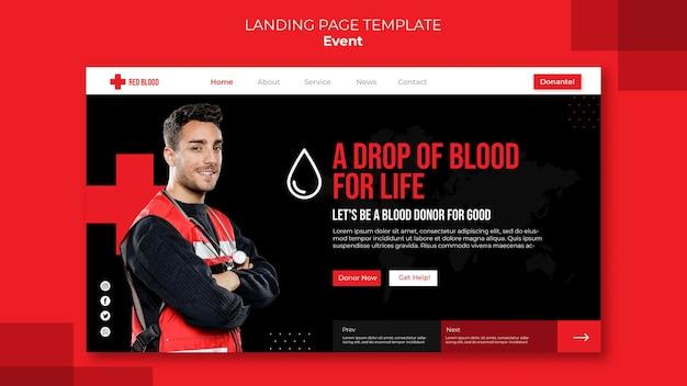 Dona il modello della pagina di destinazione del sangue