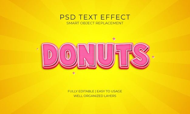 Effetto testo di ciambelle Psd Premium