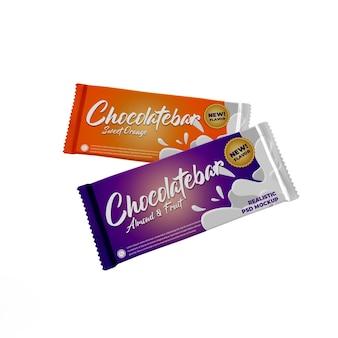 Mockup pubblicitario per confezione di prodotti opachi con doppia barretta di cioccolato