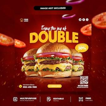 Modello di social media per menu di hamburger con doppio formaggio