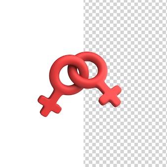 Doppio segno femminile lesbiche e lgbt simbolo delle donne di genere 3d render model design