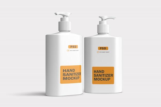 Mockup di bottiglie di plastica con doppio disinfettante per le mani