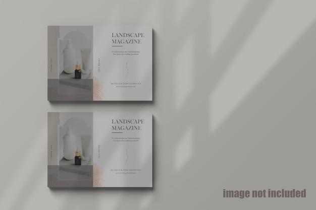 Double oflandscape magazine mockup
