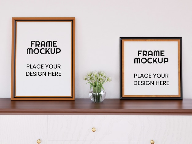Mockup di cornice doppia foto sulla scrivania
