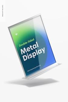 Mockup di display da tavolo in metallo con poster bifacciale, caduta