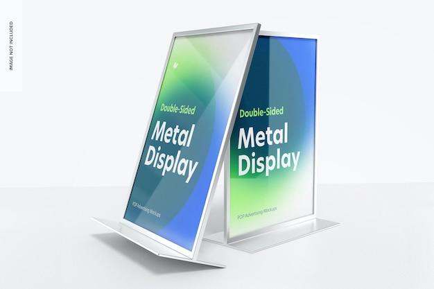 Mockup di display da tavolo in metallo per poster bifacciali, prospettiva