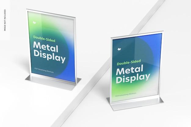 Mockup di display da tavolo in metallo con poster bifacciale