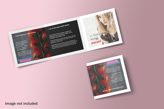 Mockup di brochure a tre ante quadrato doppio