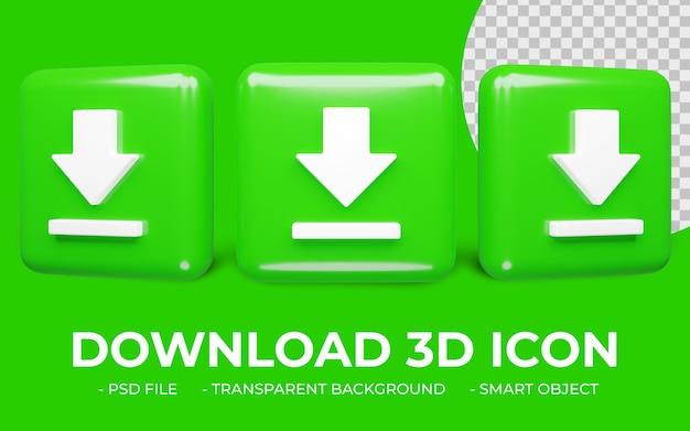 Icona di download nel rendering 3d isolato