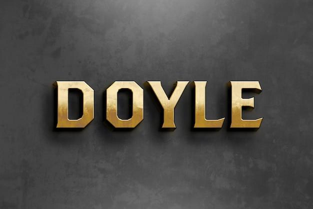Modello di effetto stile testo oro doyle