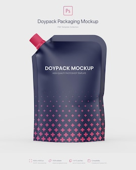 Doypack packaging con beccuccio d'angolo mockup