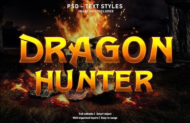 Modello di effetto di testo del cacciatore di draghi