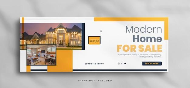 Casa dei sogni in vendita modello di copertina facebook immobiliare con mockup