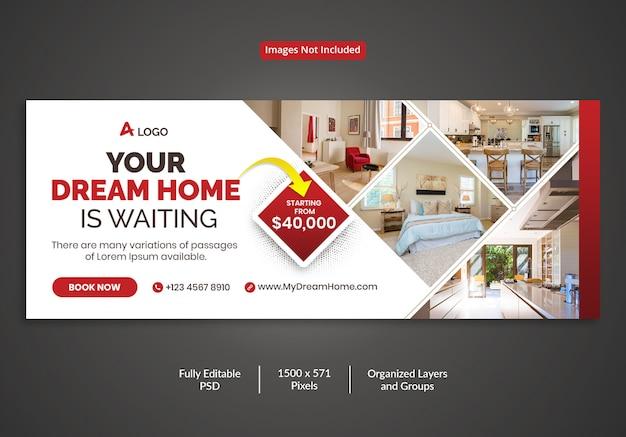 Modello di copertina della timeline di facebook per la vendita di immobili da sogno
