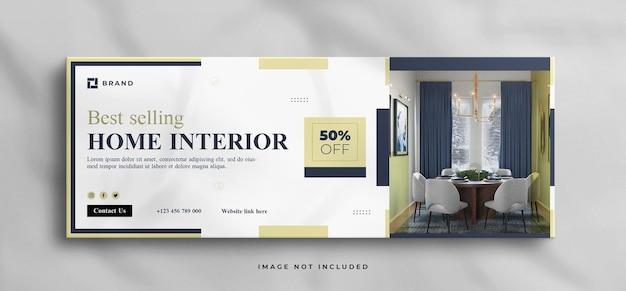 Sogno di una casa moderna per interni in vendita modello di copertina della timeline di facebook immobiliare