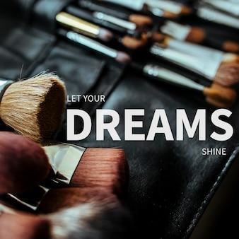 Dreams modello cosmetico psd per post sui social media con testo modificabile