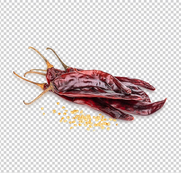 Peperoncino rosso secco o peperoncino di cayenna isolato psd premium