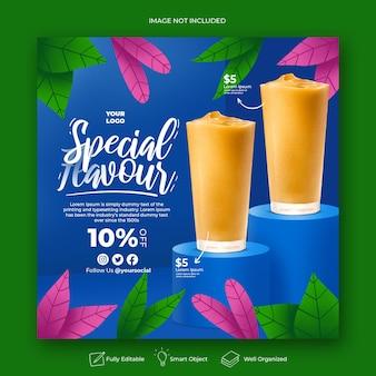 Drink menu promozione social media instagram post banner template