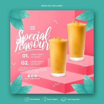 Bere menu promozione social media instagram post banner template