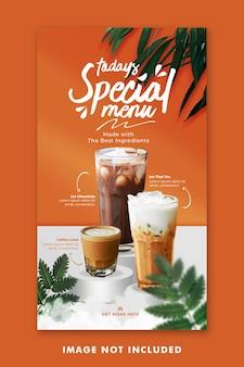Drink menu social media post instagram template per la promozione del ristorante