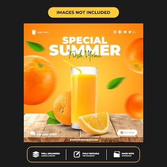 Modello di post sui social media del menu delle bevande per il ristorante di promozione