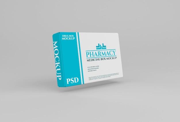 Mockup di imballaggio scatola di droga nel concetto di farmacia