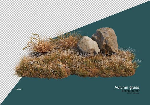Giardino con erba secca in autunno Psd Premium
