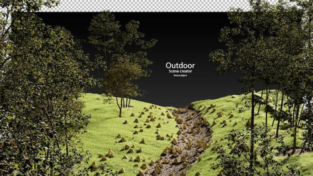 Torrente secco con alberi d'erba e pietre torrente secco