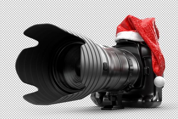 Fotocamera dslr in un cappello rosso di babbo natale. rendering 3d