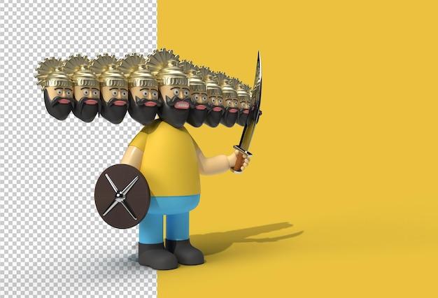 Celebrazione di dussehra - ravana con dieci teste con spada e scudo file psd trasparente
