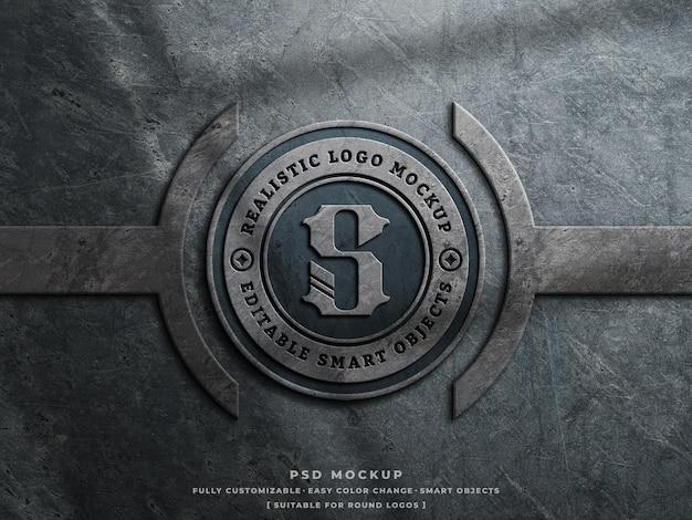Mockup logo cemento polveroso su parete ruvida logo vintage inciso mockup