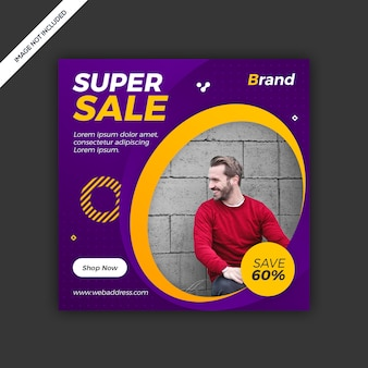 Banner post vendita moderna instagram social media dinamico