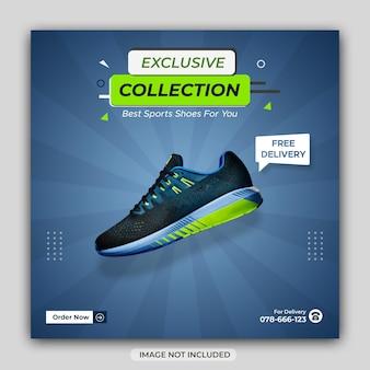 Banner di social media di vendita invernale di scarpe sportive dinamiche o modello di post di instagram