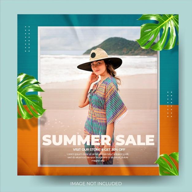 Feed di post su instagram per la vendita di moda estiva dinamica