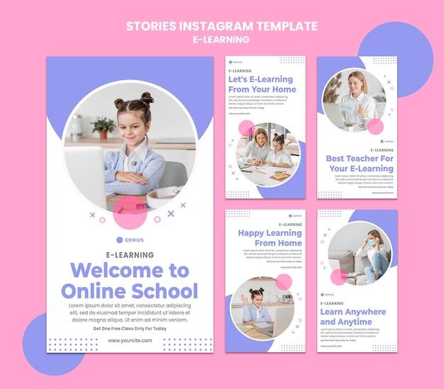 Modello di storie di instagram di annunci di e-learning