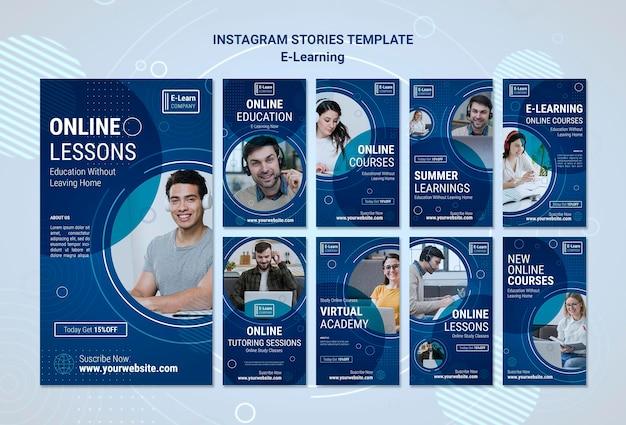Modello di storie di instagram di concetto di e-learning