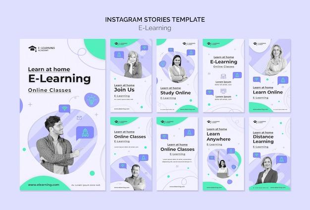 Modello di storie di instagram di e-learning