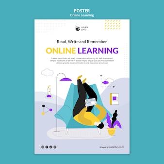 Modello di poster e-learning illustrato