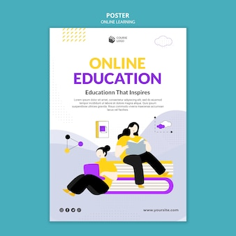 Modello di poster e-learning illustrato Psd Premium