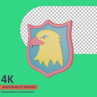 Rendering di alta qualità dell'illustrazione dell'icona del veterano 3d del simbolo dell'aquila