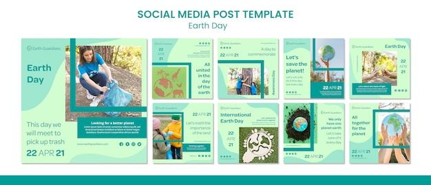 Modello di post sui social media per la giornata della terra