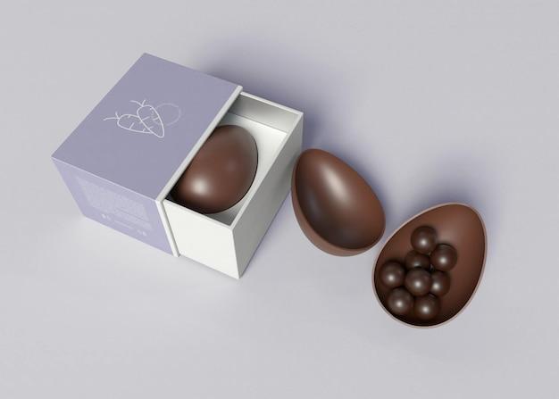 Uovo di pasqua con pacchetto mockup