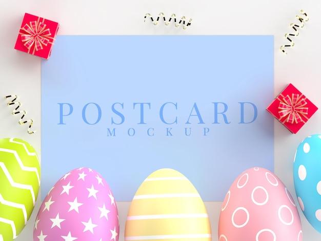 Mockup creativo di vacanze di pasqua della cartolina