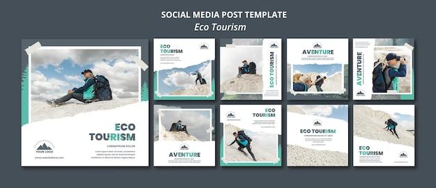 Modello di post sui social media di turismo ecologico
