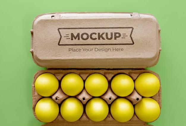 Mockup di imballaggio di uova ecologiche