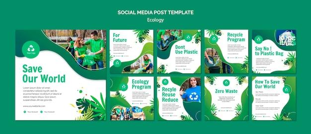 Modello di post di social media concetto di ecologia