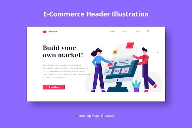 Servizi di e-commerce e modello web di marketing con illustrazione piatta
