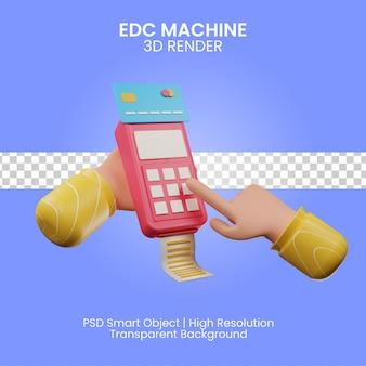Illustrazione di rendering 3d della macchina edc isolata
